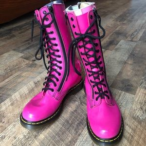 Hot pink patent leather Dr. Martens